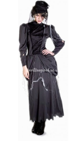 Black Long Sleeves Decadent Steampunk Dress