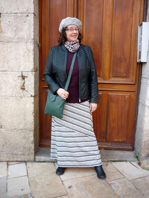 Grey striped Maxi Skirt, Wallis Petite Gothic Biker Jacket, Monsoon Beret | Petite Silver Vixen