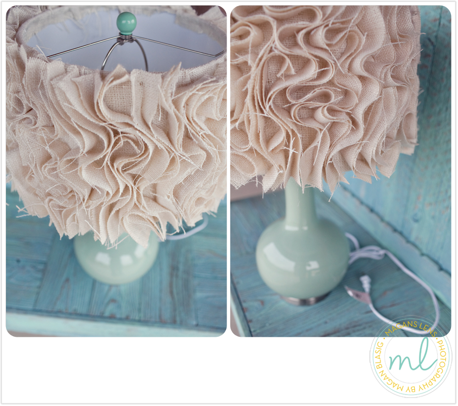Juneberry lane tutorial tuesday diy ruffled fabric lamp for Ideas for decorating lamp shades