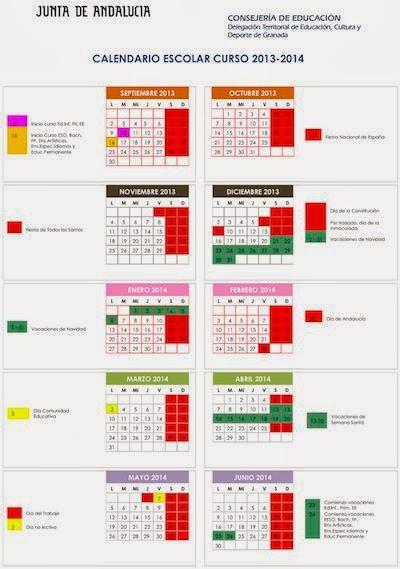 Calendario Curso 2013/2014. GRANADA