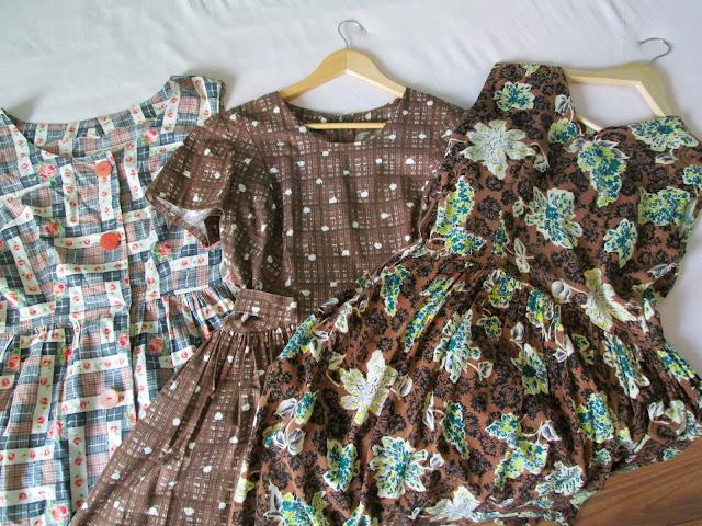 vintage 50's 40's dresses cotton rayon brown