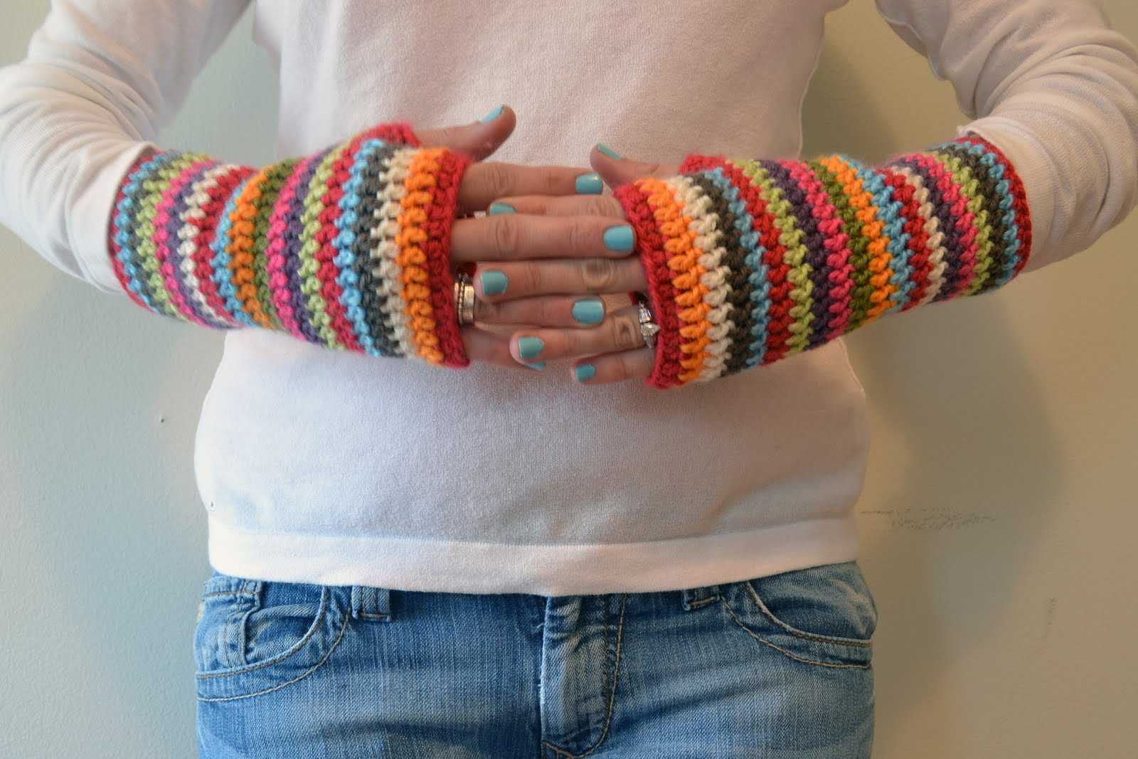 Free Crochet Patterns For Fingerless Gloves And Mitts : Crochet in Color: Colorful Stripey Fingerless Mitts