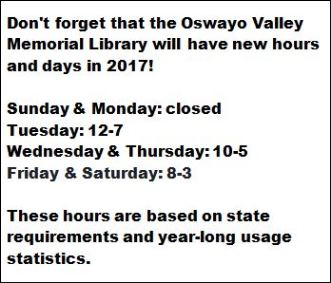 OV Library New Hours For 2017