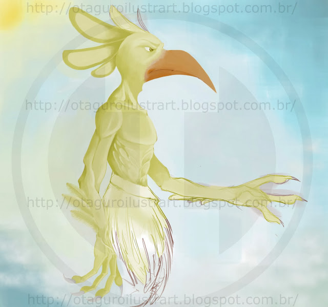 Desenho de um Homem-Pássaro por Rodrigo Otäguro