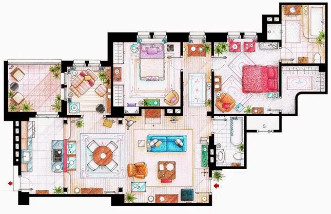 Tech Love Design Floor Plans Of Your Favourite Tv Shows