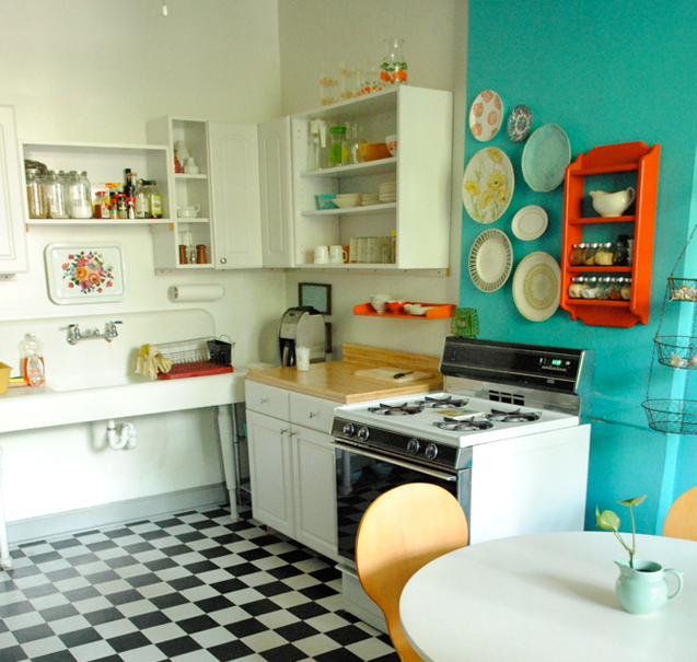 The bronze butterfly decor kitchen love - Turquoise and orange kitchen ...