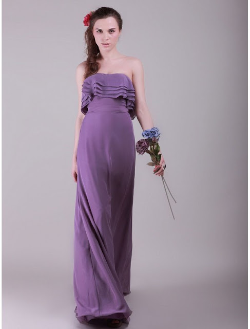 Chiffon Strapless A-Line Vintage Bridesmaid Dress with Layered Bodice