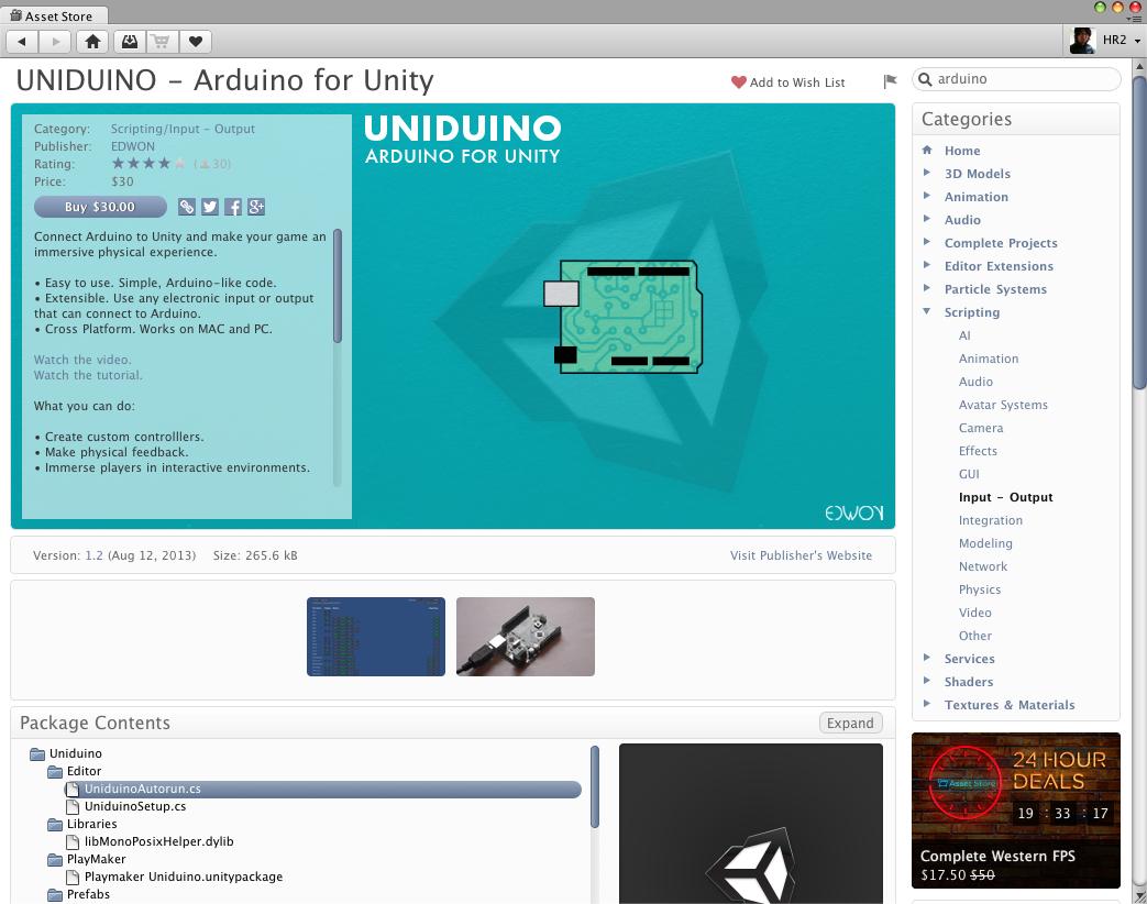 Uniduinoでunity dとarduinoを繋ぐ hr