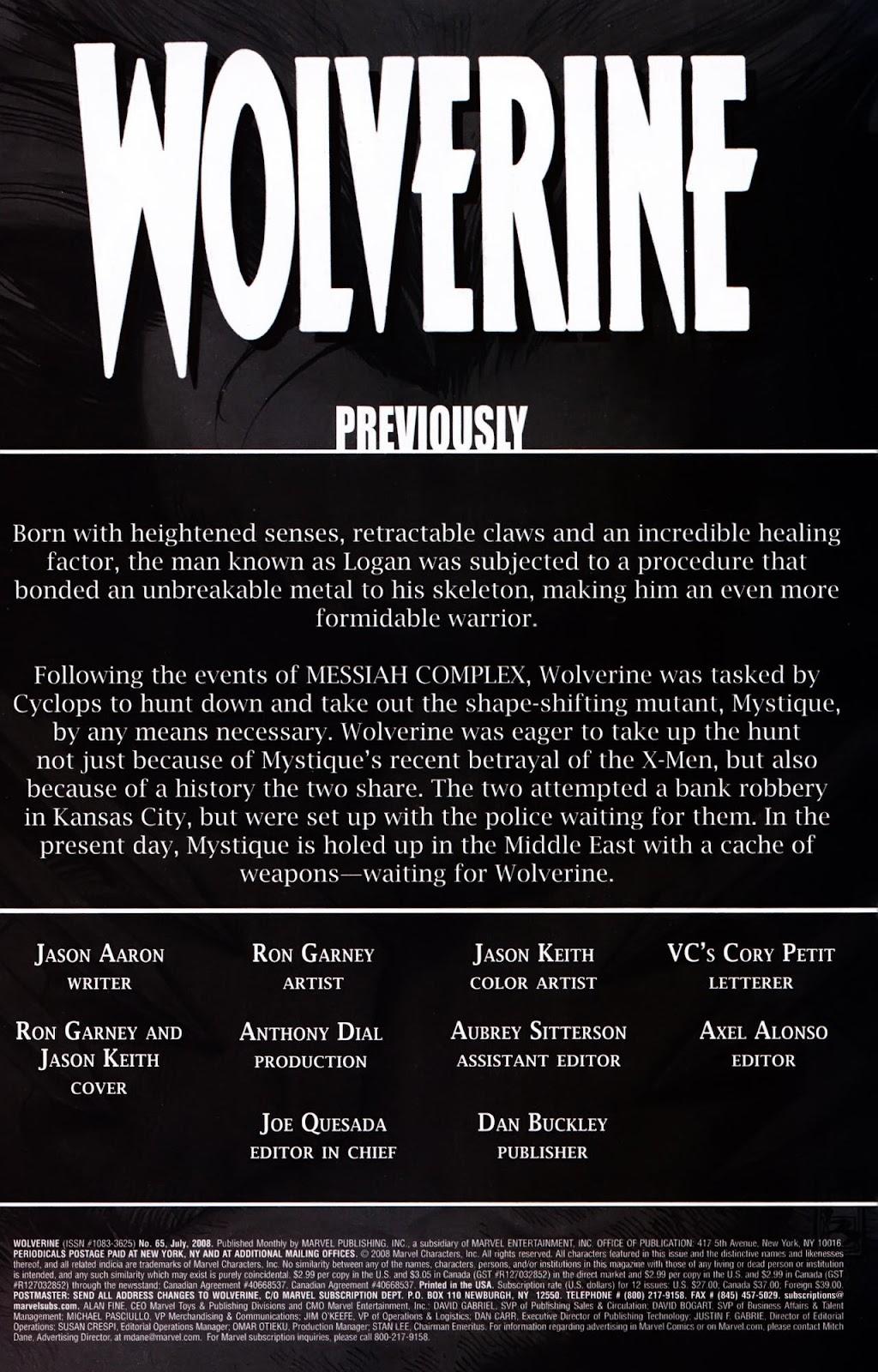 Read online Wolverine (2003) comic -  Issue #65 - 2