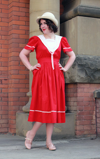 vintage, edwardian, sailor dress, nautical, edmonton vintage, edmonton, 1940s