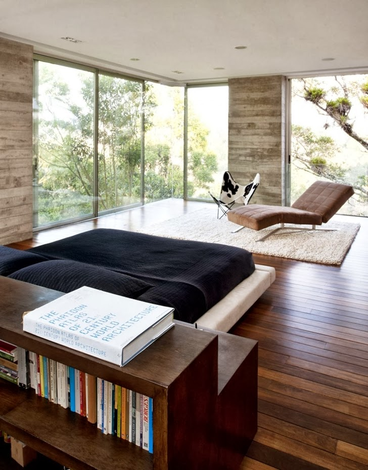 Bedroom glass wall in Modern dream home by Paz Arquitectura
