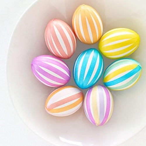 colorful line Easter eggs with Masking tape