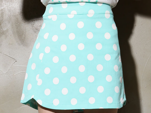 Polkadot Scalloped Hem Skirt