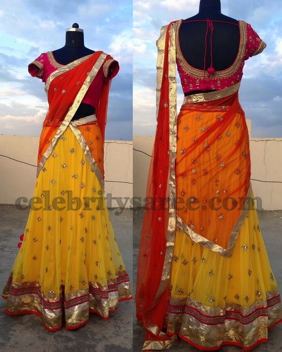 Yellow Pink Simple Half Saree