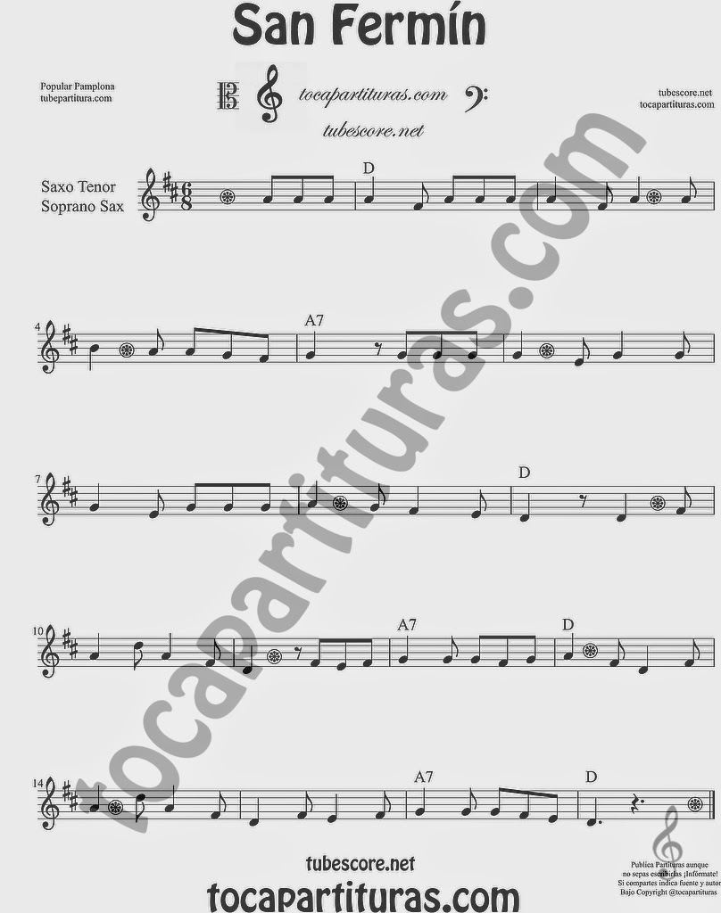 San Fermín Partitura de Saxofón Soprano y Saxo Tenor Sheet Music for Soprano Sax and Tenor Saxophone Music Scores