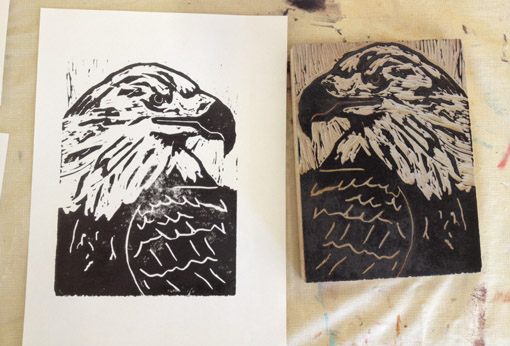 High School Art Curriculum - Homeschool Art - Eagle Linoleum Blocks - Drawing on History