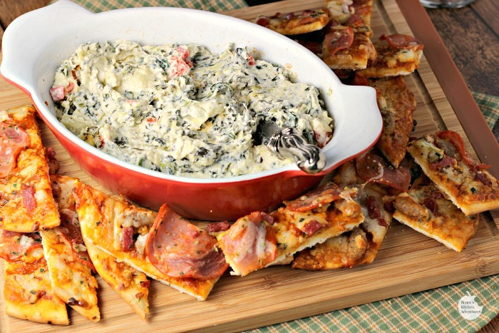 Hot and Cheesy Spinach Artichoke Dip w/Pizza Dippers | by Renee's Kitchen Adventures - A fun and easy semi-homemade appetizer recipe for any occasion, but great for the holidays! #NestleHoliday ad