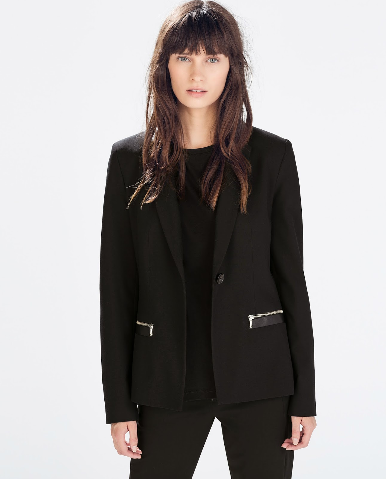 zara black wool blazer
