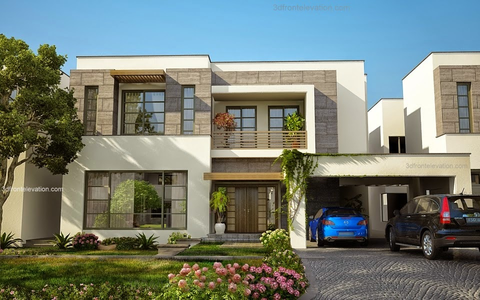 3d front modern house plans house designs for Modern home design 3d