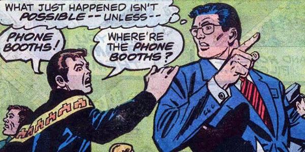 Viñeta clásica del especial Superman / Spider-man donde se cruzan Clark Kent y Peter Parker