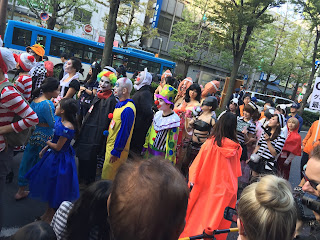 Lot of clown costumes