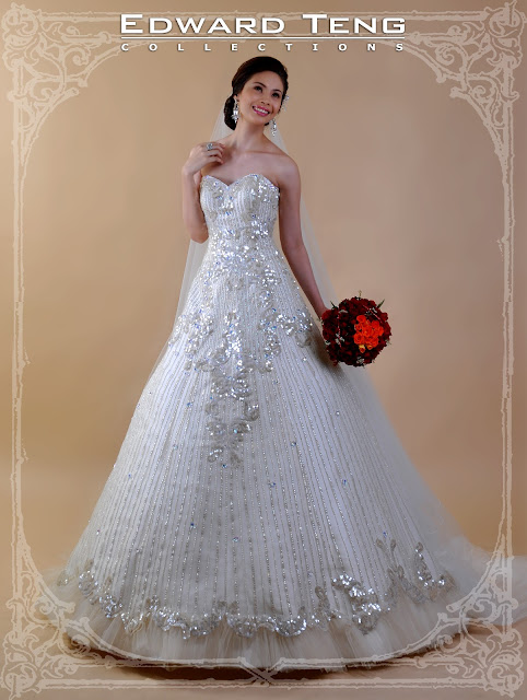Mikado Silk, Beaded Bridal Gown by Edward Teng