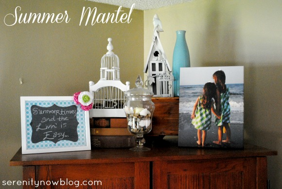 Decorating a Summer Mantel (when you don't have a mantel), Serenity Now blog