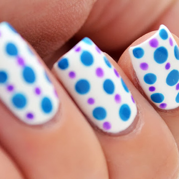 http://www.glitterandglossnails.com/2013/07/summertime-blue-and-purple-polka-dots.html