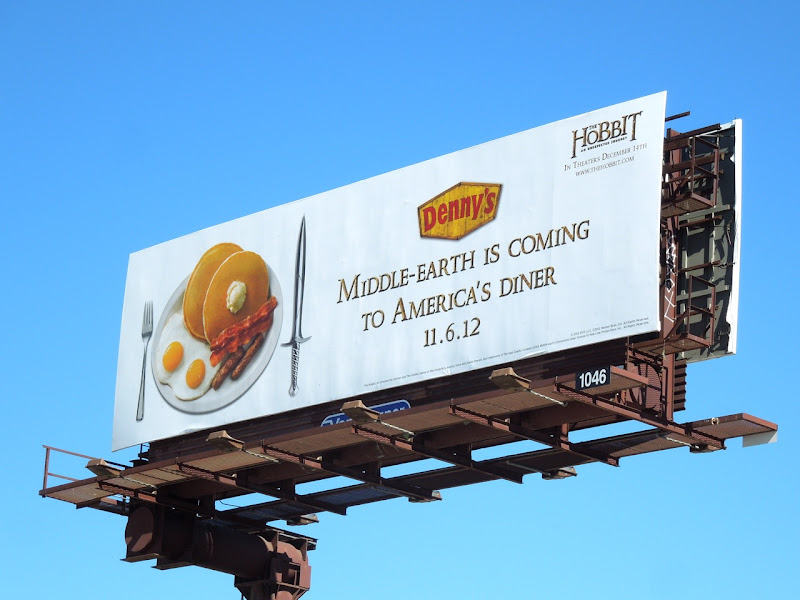 Hobbit Dennys tie in billboard