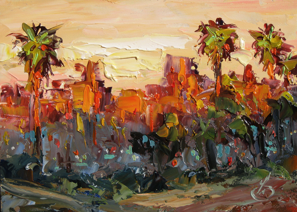 Tom brown fine art los angeles sunset palm trees 5x7 for Painting in los angeles