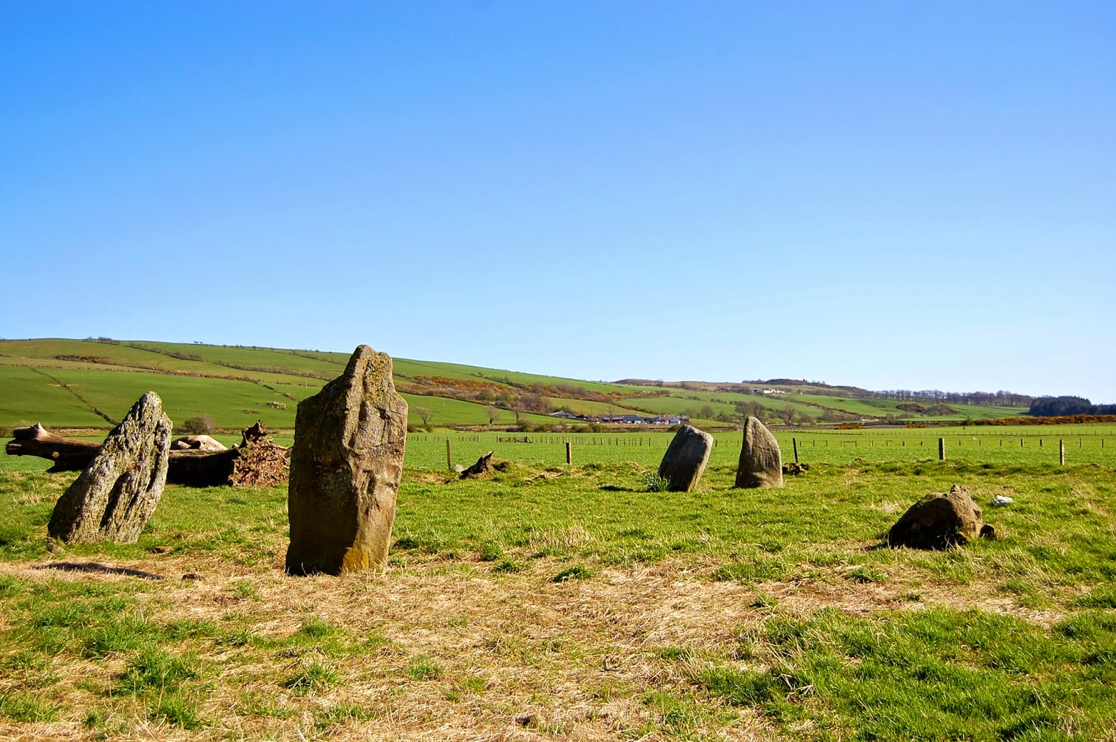St. Colmac cottages stone circle viewed from the north