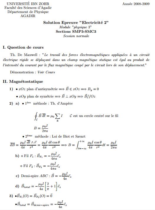 Solution Contrôle Magnétostatique dans le vide SMCP 3 FS Agadir