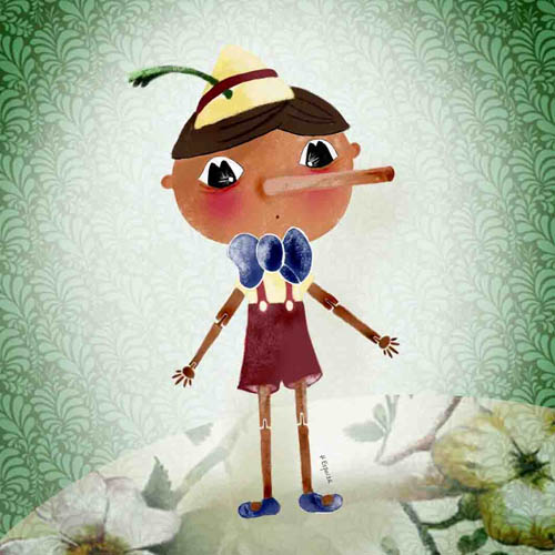 Ilustracion dibujos cuentos Pinocho