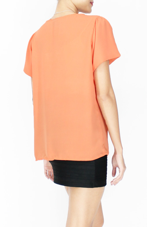 Sweet Orange Sweet Ruffle Panel Blouse with Flare Sleeves
