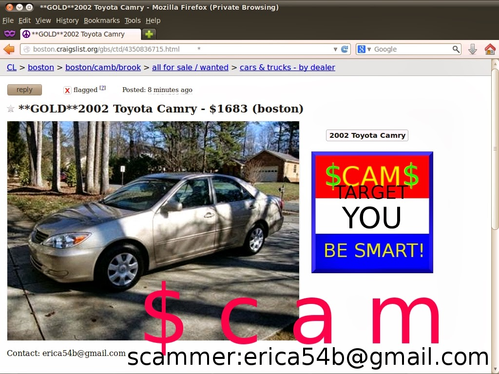 Boston craigslist used cars by owner toyota camry by scammer erica54b gmail com