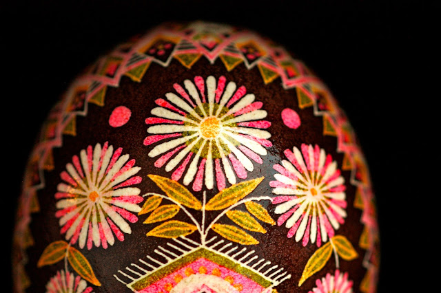 Brown and Pink Floral Mixed Traditional and Contemporary Pysanky, Batik Folk Art Eggshell, Easter Egg