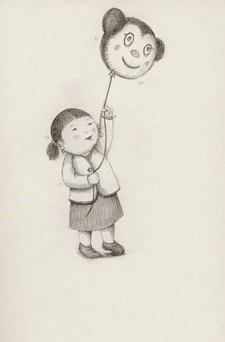little girl with balloon - yara dutra