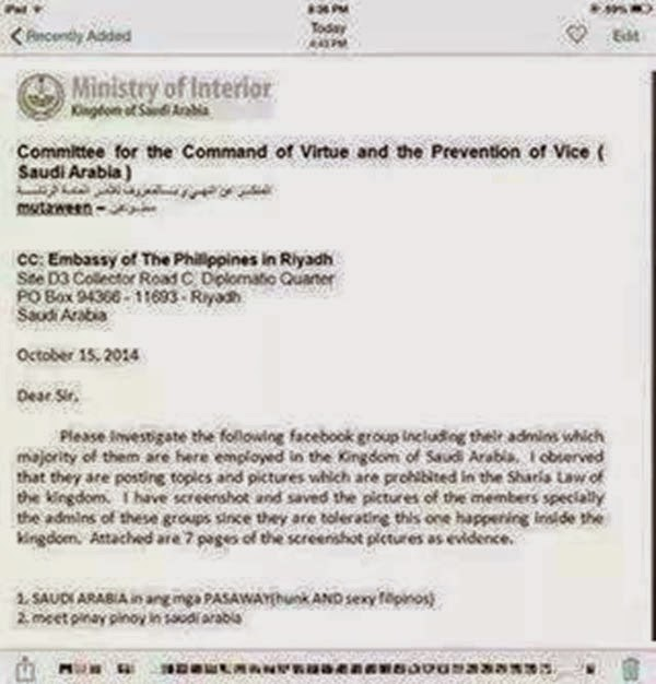 Saudi Ministry of Interior Letter RE: OFWs Sexy Photos on Facebook Group
