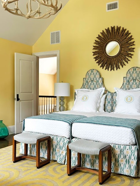 The glam pad from whimsical to mellow more yellow bedrooms - Blue white yellow bedroom ...