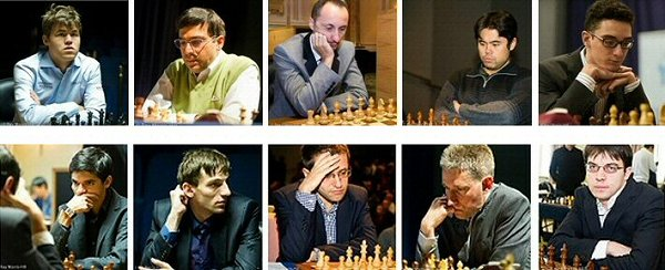 Les 10 joueurs d'échecs engagés pour le London Chess Classic 2015 © Chess & Strategy