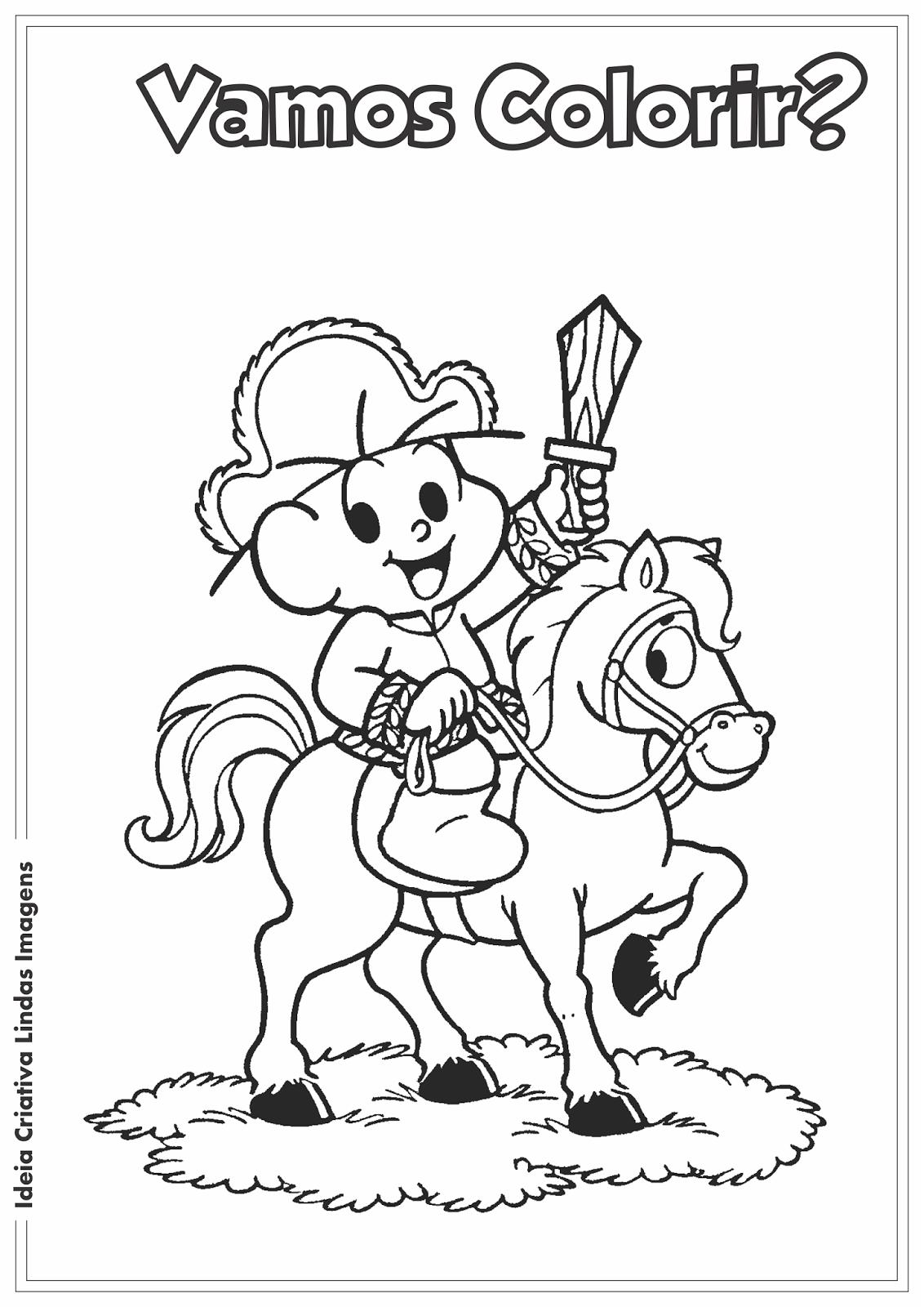 Desenho pra colorir - Dia da Independência do Brasil Turma da Mônica