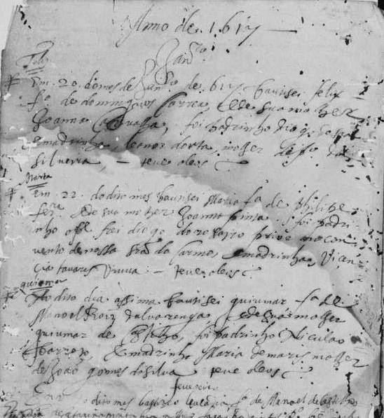 Reg. de batismo de Guiomar de Alvarenga - 1617