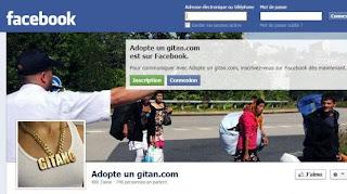 "Capture d'écran de la page Facebook ""Adopte un gitan.com"","