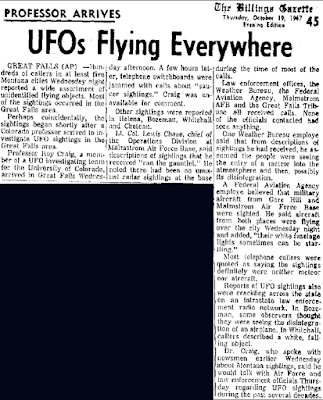UFOs Flying Everywhere - The Billings Gazette 10-19-1967