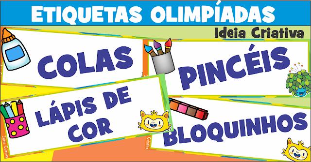 Etiquetas Olimpíadas para Organização de Materiais Escolares