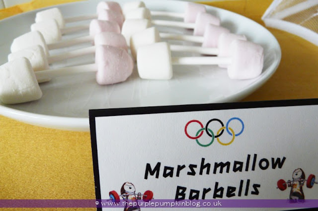 Marshmallow Barbells for an #Olympics Party at The Purple Pumpkin Blog
