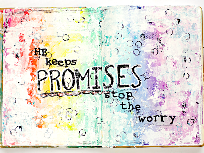 a mixed media art journal page reminder to stop worrying because God always keeps his promises like he did to Noah with the rainbow