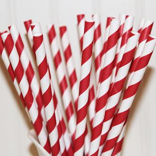 Stribede retro papirsugerør - rød og hvid
