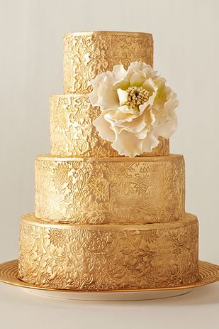 Golden tiered wedding cake