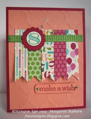 Fun Stampin' with Margaret, CCMC275, Birthday Basics DSP, Memorable Moments and Sweet Essentials stamp sets.  Fun birthday card for any age!  SU.